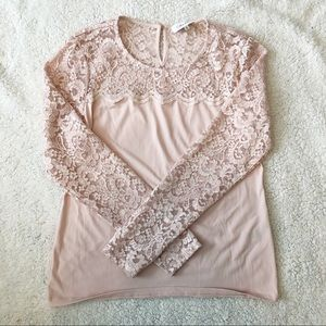 Calvin Klein pink long sleeve shirt w/lace